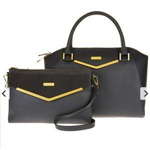 ❤Joy and Iman satchel and clutch w/velvet detail